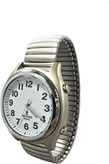 Atomic Talking Watch for The Blind with Extra Spare Battery and Microfiber Cleaning Cloth (Stainless Steel Stretch Mountain Standard Time)