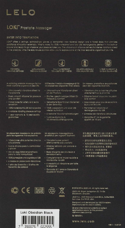 Lelo LOKI Masajeador de Próstata Obsidian Black: Estimulación Anal Segura y Profunda para Hombres, con 6 Potentes Modos de Vibración, Negro (2555)
