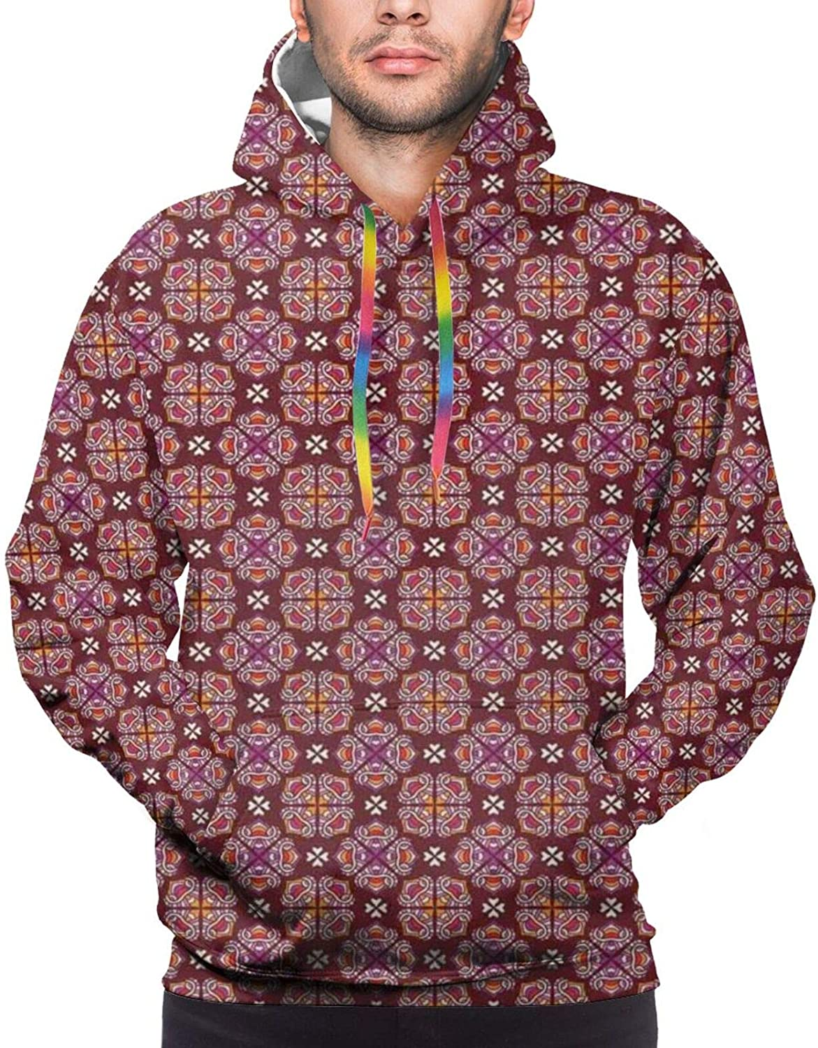 Men's Hoodies Sweatshirts,Abstract Composition Graphic Floral Motifs with Squares Pattern