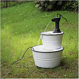 """Glitzhome Metal Tiered Water Fountain with Decorative Faucet Enamel Garden Tools Farmhouse Decor 31.5"""" H"""