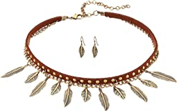 2 Layer Dangle Feather Choker/Earrings Set