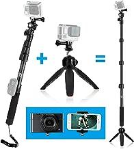 CamKix Premium 3in1 Telescopic Pole 16-47 Inch & Tripod Base Kit Compatible with GoPro Hero 8 Black, Hero 7, 6, Fusion, 5, Black, Session, Hero 4, Black, Silver, DJI Osmo Action, Camera + Smartphone