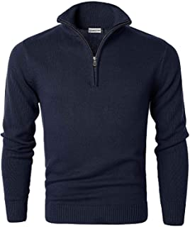 Jersey de Algodón para Hombre Suéter de Cuello Media Cremallera Sudadera de Punto Cómoda de Manga Larga