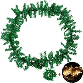 Christmas Garland Decorations Artificial Pine Wreath Indoor Outdoor Xmas Decorations for Garden Yard Stairs Wall Door