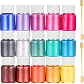 Funxim epoxyhars kleur 15x10g, zeepkleur set metallic kleur harskleur, Mica Poeder Pigmenten Poeder voor Zeep Hars Gegoten...