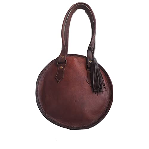 Vintage Leather Brown Round Shoulder Bag Shopping Bags Hobo Travel Tote for  Womens