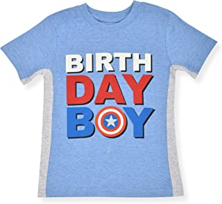 Marvel Kid`s Captain America Birthday Boy Party Outfit Tee Shirt