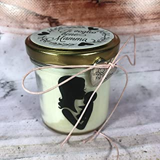 Ti voglio bene Mamma Vasetto con candela con silhouette - aroma a scelta - in cera di soia, oli essenziali e stoppino in l...