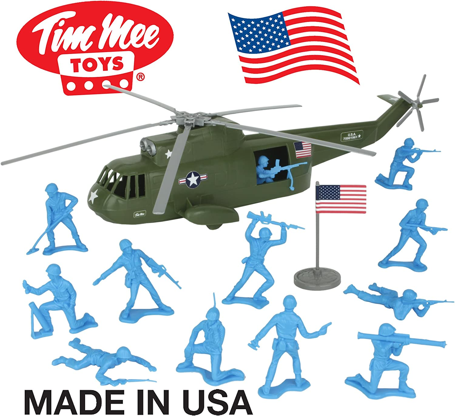 TimMee Plastic Army Men HELICOPTER Playset  Olive Green 26pc  Made in USA