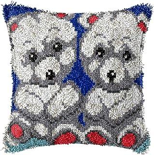 2 kit de crochet de loquet, kits de fils de crochet bricolage imprimé joli motif animal de toile de coussin de coussin de ...