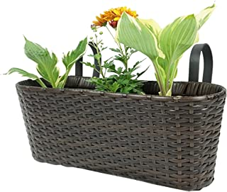 Pacific E-Commerce Hanging Planter for Indoor and Outdoor Use   Elegant Rectangular Plastic Resin Wicker Hanging Basket for Flowers and Plant Holder with Hook (Brown) - 17