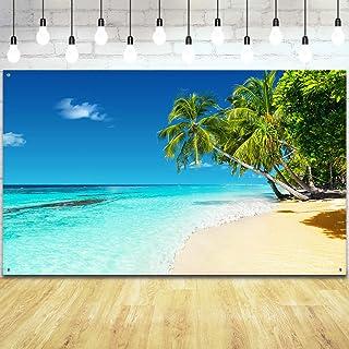 Sommer Tropical Strand Hintergrund Sea Strand Photo Booth Hintergrund Meer Ozean Palmen Hintergrund Banner für Sommer Tropical Luau Hawaiian Aloha Party Dekoration Lieferungen, 71 x 43 Zoll