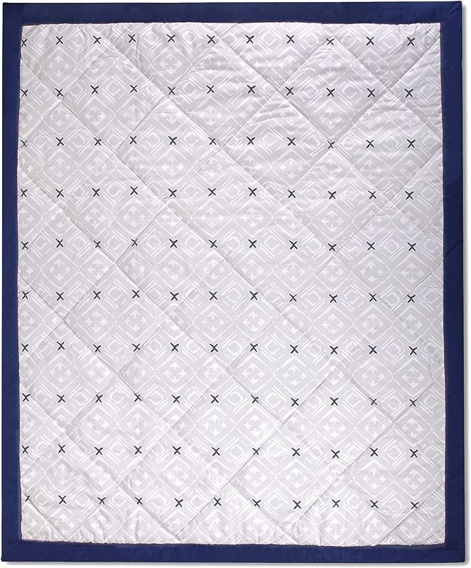 Wendy Bellissimo Super Soft Plush Baby Blanket Reversible Quilt 37x44 Aztec In Grey Navy