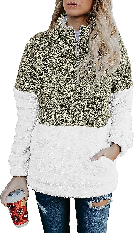 BTFBM Women Sherpa Pullover Quarter Zip Long Sleeve Fluffy Soft Fleece Jackets Sweaters Sweatshirts Hoodies Outwear Coat