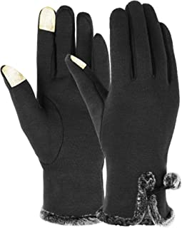 ITODA Women Boys Touchscreen Cycling Gloves Winter Thicken Warm Cashmere Knit Gloves Thermal Magic Texting Driving Gloves Gray Black