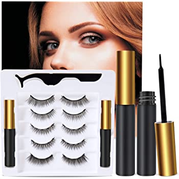 5 Pairs Reusable 5D Magnetic Lashesand Eyeliner Kit, Best Magnetic Eyeliner forMagnetic Lashes Kit, Comes With 2 Tubes of Magnetic Eyeliner-Easy to Use
