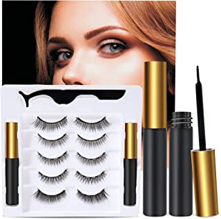 5 Pairs Reusable 5D Magnetic Lashes and Eyeliner Kit, Best Magnetic Eyeliner for Magnetic Lashes Kit, Comes With 2 Tubes o...