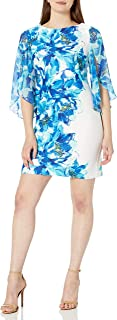 Sandra Darren Women's 1 Pc Trump Sleeve Printed Scuba & Chiffon Sheath Dress