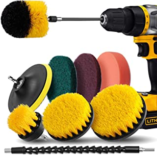 Drill Brush Attachment Set - Drill Brush Power Scrubber 10 Piece, Scrub Pads & Sponge, Extend Long Attachment, Cleaning Brushes for Shower, Bathroom, Carpet, Grout, Tiles, Sinks, Car