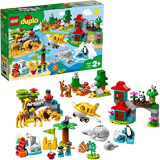 LEGO 10907 DUPLO Town World Animals Adventure Learning Toys for Toddlers 2 - 5 Years Old with Airplane and 15 Duplo Animals