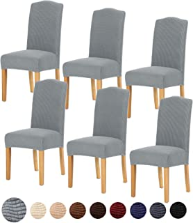 TIANSHU Stretch Chair Cover for Home Decor Dining Chair Slipcover (6 Pack, Light Grey)