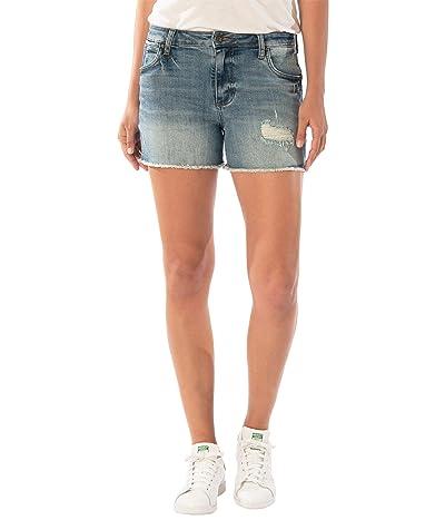 KUT from the Kloth Gidget High-Rise Frey Shorts (Traveler) Women