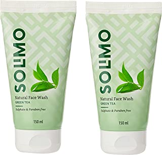 Amazon Brand - Solimo Green Tea Face Wash, 150ml (Pack of 2)