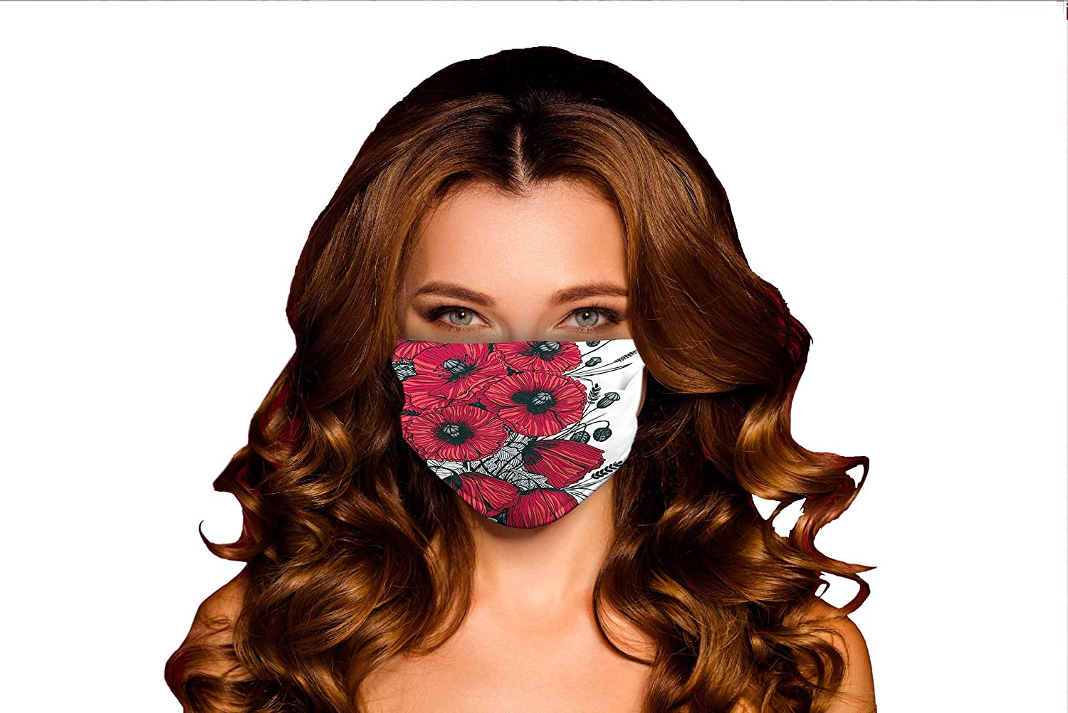 Fashionable Windproof Activated Carbon mask Large Poppy Roman ...