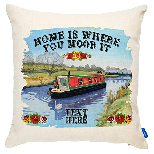 302bf002e52 KRAFTYGIFTS Personalised Canal Barge Cushion Cover Narrow Boat Home Gift