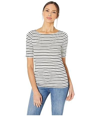 LAUREN Ralph Lauren Striped Cotton Boat Neck Top (Silk White/Polo Black/Shadow Grey Heather) Women
