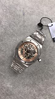 Luxury Brand Stainless Steel Silver Color Partially Gold Color dial Automatic Movement Skeleton Oak Watch Watches