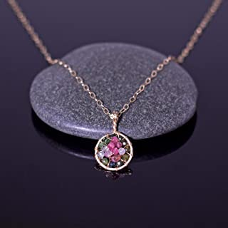 Watermelon Tourmaline Pendant Necklace in 14k Gold Fill Wire Handmade Pink Jewelry