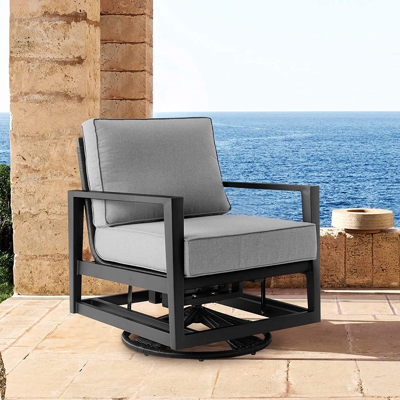 ARMEN Popular standard LIVING LCODCMCHBL Cayman Black Swivel ! Super beauty product restock quality top! Aluminum Outdoor Gli