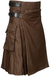 Chocolate Brown Leather Strap Utility Kilt For Active Man Kilt Wedding Kilts