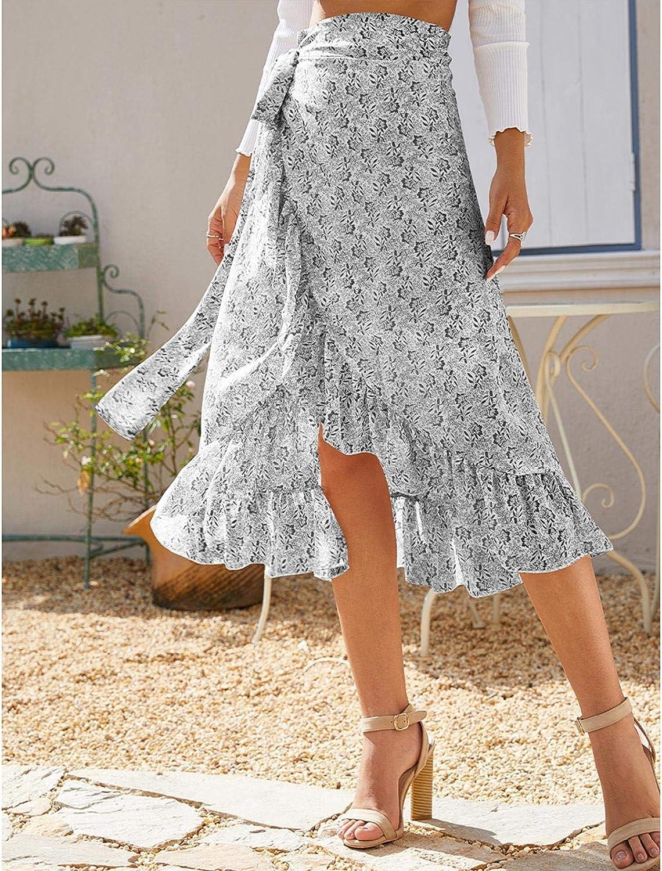 Womens Maxi Wrap Skirt Boho Casual Chiffon High Waist Floral Print Wrap Beach Cover Up Slit Long Skirt