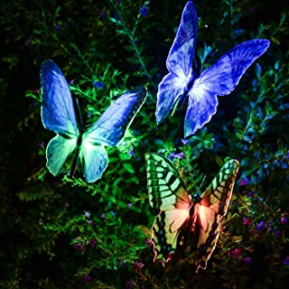 [NEWEST] Butterfly Garden Solar Lights Outdoor, 3 Pack Qualife LED Color Changing Stake Lights, Solar Powered Optic Fiber Decorative Lighting, Yard Art, Garden Decorations, Housewarming Gifts.(SL231)
