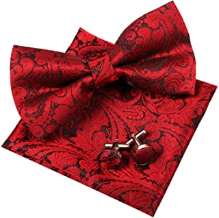 Alizeal Mens Retro Paisley Pre-tied Bow Tie, Pocket Square and Cufflinks Set