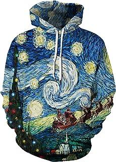 Ocean Plus Hombre Colorida Sudadera con Capucha Unisex con Estampado Digital Sudadera de Manga Larga con Cord/ón y Bolsillo Delantero