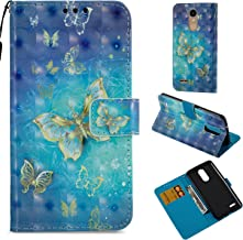 LG Aristo Case,LG LV3 Case, LG Phoenix 3 Case, LG K8 2017 Case, LG Fortune Case, LG Risio 2 Case, LG Rebel 2 LTE Case,PU Leather Wallet Protective Phone Cover Wrist Strap Magnetic Stand Gold Butterfly