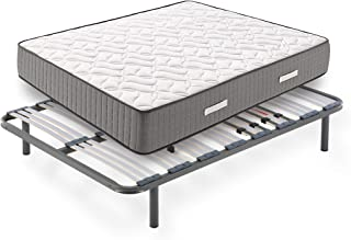Hogar24 - Conjunto de descanso 135 x 190 cm - Colchón Bio Natur Fresh 30 + Somier Multiláminas Con Reguladores y Patas de Metal De 26 cm