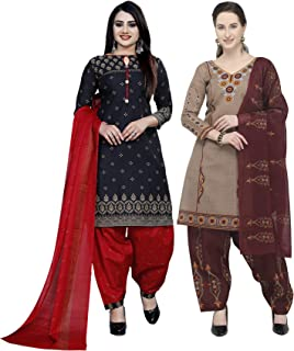 Rajnandini Women's Black And Beige Cotton Printed Unstitched Salwar Suit Material (Combo Of 2) (Free Size)