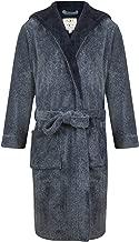 John Christian Men's Hooded Fleece Robe, Navy Marl