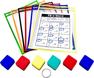 PDX Reading Specialist Dry Erase Pocket Sleeves - 6 Assorted Colors - Oversized Plastic Sheet Protectors - Bonus 6 Magnetic Whiteboard Erasers, 1 Book Ring - Great for Teachers, School, Home & Office