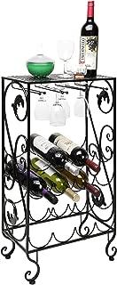 16 Bottle and 8 Wine Glass French Grapevine Motif Wine Storage Organizer/Display Rack