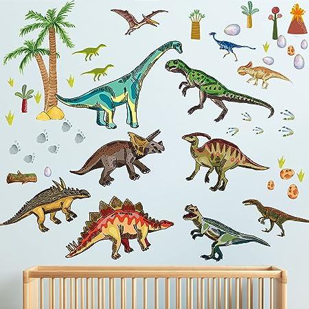 10Pcs Dinosaur Decal Child Bedroom Kitchen Livingroom Decor Mirror Wall Sticker