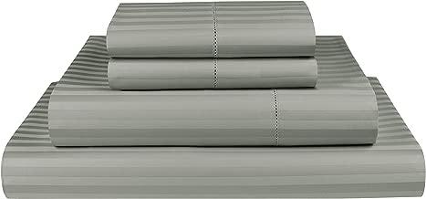 Threadmill Home Linen 600 Thread Count 100% Cotton Sheets, 1CM Damask Stripe Beige, ELS Cotton Bed Sheets, Sateen Fits Mattress Up to 18'' Deep Pocket California King Grey THM-600-STR-Moonrock-CK