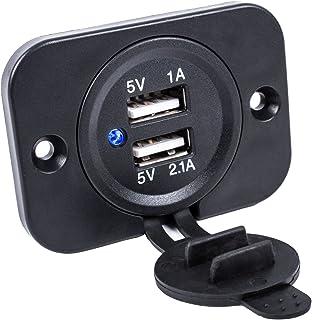 USB Doppel Einbau Steckdose12/24 Volt 2,1A 5 Volt für Wohnwagen, Wohnmobil, Auto, Boot , Lkw