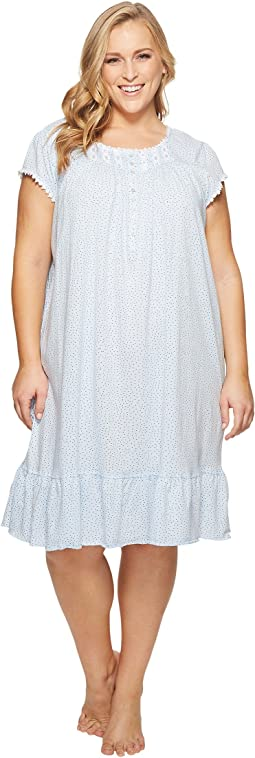 Eileen West - Plus Size Cotton Sheer Jersey Waltz Nightgown