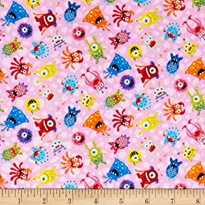 Fabri-Quilt Paintbrush Studios Launch Party Monsters Pink, Fabric by the Yard