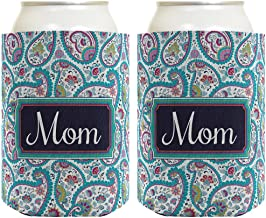 Mother's Day Gift for Mom or Grandma Cute Paisley 2 Pack Can Coolie Drink Coolers Coolies Paisley